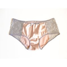 Pink Satin & Grey Sequin Mermaid Cheeky Panties Made to Order ($25) ❤ liked on Polyvore