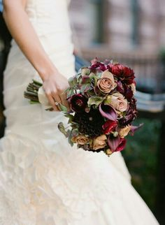 "Elegant Wedding Bouquet Featuring: Aubergine Calla Lilies, Deep Garnet Dahlias, Cranberry Ranunculus, ""Vintage"" Roses, Hydrangea"