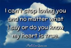 I can't stop loving you and no matter what I say or do you know my heart is true. #purelovequotes