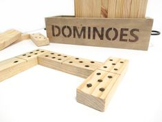 Giant Dominoes Game This wooden dominoes set is perfect for family game night! Available in the Annabelle Decor Online store Family Game Night, Modern Decor, Board Games, Store, Diy, Tabletop Games, Bricolage, Larger, Do It Yourself