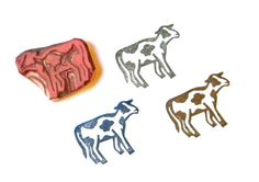 Cow rubber stamp hand carved handmade
