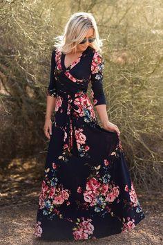 Floral Luxury Maxi Wrap Dress | 4 Sizes!