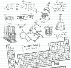 Chemistry title with chemical elements and flasks on a dark background for poster design. Vector cli MATHEMATIC HISTORY Mathematics is … Chemistry Drawing, Chemistry Art, Chemistry Notes, Doodle Sketch, Doodle Art, Simple Doodles, Study Notes, Dark Backgrounds, Free Vector Art