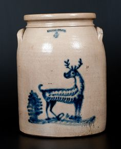Rare WHITES UTICA Stoneware Jar with Deer and Tree Decoration -- Lot 161 -- July 18, 2015 Stoneware Auction -- Crocker Farm, Inc.