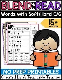 Give your students the opportunity to practice blending, reading, and building fluency reading over 15 words with soft/hard c/g. | Soft C and G worksheets and Hard C and G Worksheets | Blend and Read Words | blending sounds kindergarten reading first grade reading worksheets teaching reading strategies struggling reader strategies blends worksheets blending sounds activities
