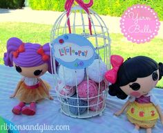 Cute decorations at a LalaLoopsy Birthday Party! See more party ideas at CatchMyParty.com!  #partyideas #lalaloopsy