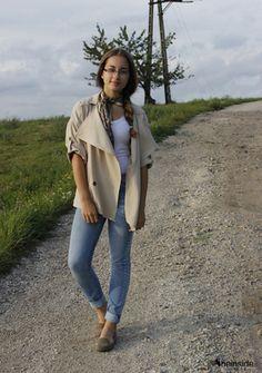 Khaki Lapel Half Sleeve Asymmetrical Pockets Outerwear -SheIn(Sheinside)