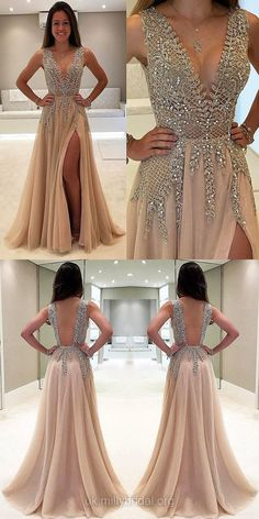 Gold Prom Dresses for Teens, Long Prom Dresses A-line, V-neck Formal Dresses Chiffon with Beading, Sexy Party Dresses Unique