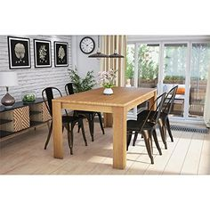 #philanthropy Add a little farmhouse flair to your kitchen or dining area with the Weston Block Leg Dining Table by Dorel Living. Crafted in a wheat finish with...