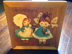 Springbok Love is Sharing Hallmark Wooden Plaque with Builtin Stand 70s two cute little girls  on Etsy, $12.00