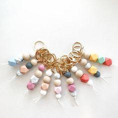 Keychain - Key Chain - Silicone beads - Gold Key chain - Gold - Modern Keychain