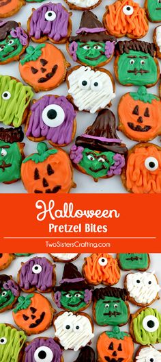 Halloween Pretzel Bites - you'll only need candy melts and pretzels to make these spooky, sweet and salty Halloween treats. We have step by step instructions on how to make this fun Halloween Dessert (Halloween Desserts) Halloween Desserts, Halloween Drinks, Halloween Candy, Easy Halloween, Halloween Foods, Halloween Stuff, Fall Treats, Holiday Treats, Spooky Treats