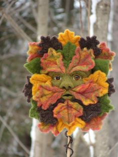Needle Felted Autumn Green Man Soft Sculpture by by McBrideHouse