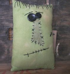 Small Primitive Halloween Frankenstein Pillow by thewoodedlake, $10.35