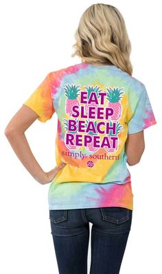 d0915d3e30621e Simply Southern Preppy Tees Eat Sleep Beach Repeat Tie Dye Pocket T-shirt
