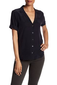 Image of Equipment Short Sleeve Solid Blouse