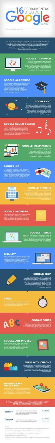 infográfico – 16 ferramentas úteis do Google (ou não) Marketing Online, E-mail Marketing, Internet Marketing, Digital Marketing, Web Design, Success, Study Tips, Good To Know, Advertising