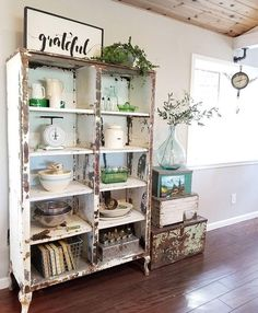 Primitive Dining Room Hutch Neutral Farmhouse Shiplap