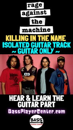 """Check out this isolated guitar track for """"Killing in the Name"""" by Rage Against the Machine - This guitar only track helps you hear and learn the guitar part #GuitarTracks #GuitarLessons #IsolatedGuitar #RageAgainstTheMachine Play Guitar Chords, Learn Bass Guitar, Bass Guitar Lessons, Guitar Lessons For Beginners, Guitar Parts, Guitar Songs, Teach Yourself Guitar, Bootsy Collins, Drum Patterns"""