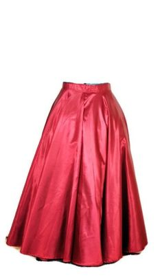 1980's Vintage Cranberry Satin Belle Skirt. 1980 Holiday Cranberry Satin Floor length skirt. The skirt can be worn with a crinoline or with a hoop. It has a beautiful sweep. The skirt is shown with a crinoline.  No label.  Zipper in Back. Condition: Excellent to Mint. Measurements: Taken flat Waist: 31 1/2 inches to 32 3/4 inches Length: 40 inches Sweep of Skirt: 180 inches If you have any questions, please feel free to contact me. Thanks, Robin