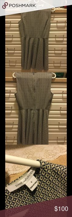 DVF Sleeveless Dress Really cute Dian Von Furstenberg blue & white patterned dress. Perfect for work with a jacket and transitions right into evening. Diane von Furstenberg Dresses Midi
