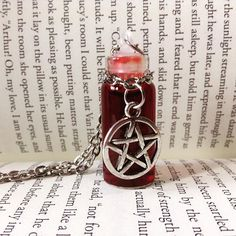 Pentagram blood vial #gothicstyle #gothicjewelry #necklace #pentagram… Goth Jewelry, Fantasy Jewelry, Jewelery, Witch Aesthetic, Red Aesthetic, Estilo Cool, Mode Steampunk, Blood Art, Vial Necklace
