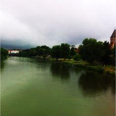 Blick auf die Donau und Ulm, morgens um acht.