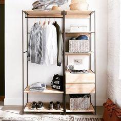 New small apartment storage closet shelves ideas Small Apartment Storage, Small Apartments, Small Spaces, Studio Apartments, Diy Wardrobe, Wardrobe Design, Open Wardrobe, Capsule Wardrobe, Apartment Furniture