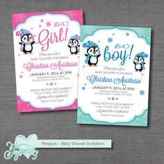 PRINTABLE!!! Penguin - Baby Shower Invitation by Joytations on ETSY. Print at home or a local print shop. Customize the colors and wording in any way! Visit my shop for details!
