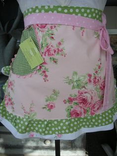 Aprons  Womens Half Apron  Aprons with Rose Fabric  by AnniesAttic