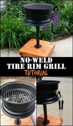 DIY no-weld tire rim grill - a great conversation starter for backyard gatherings!