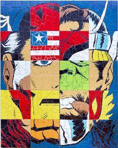 Les portraits des super-héros en mosaïque