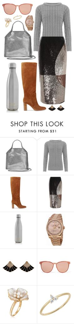 """""""Sequin Colorblock"""" by cherieaustin on Polyvore featuring STELLA McCARTNEY, WearAll, Gianvito Rossi, Tom Ford, S'well, Rolex, Linda Farrow, Ross-Simons and EF Collection"""