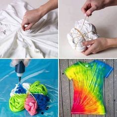 Tye dye t-shirt. Use Kool-Aid and white vinegar. (Solution of unsweetened Kool Aid, 4 cups warm water 1 cup white vinegar in a container, tie a rubber band around a section of the t-shirt and soak for several hours. Easy Diy Tie Dye, How To Tie Dye, Tie Dye Tips, Homemade Tie Dye, Diy Tie Dye Shirts, T Shirt Diy, T Shirt Crafts, Ty Dye Shirts, Wrap Shirt
