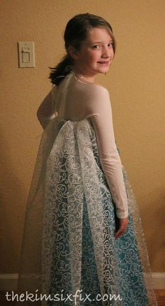 The Kim Six Fix: DIY Elsa Dress (From Frozen)-brilliant idea for sleeves from footless tights !!!!!
