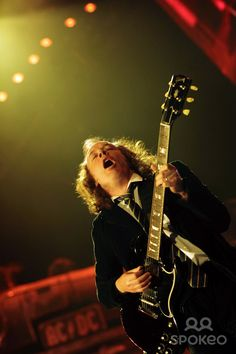 """Angus Young of ACDC performing live in concert as part of the """"Black Ice Tour"""" at the Adelaide Oval"""