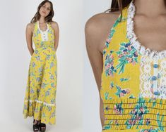 Long Smocked Yellow Floral Maxi Dress / Vintage 70s Bright Flower Dress / Boho Style Open Back Long Dress / Hippie Inspired Summer of Love Boho Style Dresses, Hippie Dresses, Boho Dress, Country Dresses, Flower Dresses, Flower Skirt, Yellow Floral Maxi Dress, Vintage Dresses, 1970s Dresses