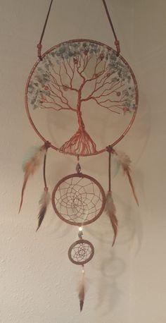8 árbol de la vida doble Atrapasueños con perlas de
