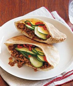 Gingery Pork and Cucumber Pitas.  This was a big hit in my house.  You could also try with ground chicken or turkey.