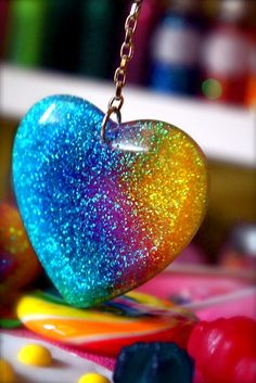 I Love Rainbows Heart Drop Glitter Resin Earrings