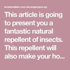 This article is going to present you a fantastic natural repellent of insects. This repellent will also make your home smell refreshing.