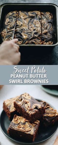 Your dessert just got a serious upgrade with these sweet potato peanut butter swirl brownies! Naturally sweetened with sweet potato and perfectly paired with peanut butter, this sweet treat will up your dessert game ASAP.