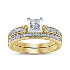 Princess Diamond 14k Two Tone Gold Plated Engagemwnt & Wedding Bridal Ring Set #Aonejewels
