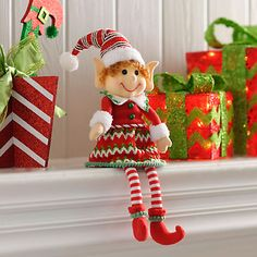 Our Jolly Elf Girl Shelf Sitter will make your mantel or book shelf display pop with color and holiday cheer. Her adorably warm smile will melt your guests' hearts. Christmas Elf Doll, Christmas Hacks, Christmas Bows, Christmas Sewing, Handmade Christmas, Christmas Holidays, Christmas Crafts, Christmas Christmas, Indoor Christmas Decorations