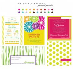 Assorted party invitation designs. Fully customizable. Using your colors, your fonts, your style. Send us a note to customize design before checkout.