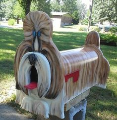 Shih Tzu Mailbox - or you pick breed, painted mailbox, dog lover gift, custom mailbox, wooden mailbox Funny Mailboxes, Unique Mailboxes, Painted Mailboxes, Custom Mailboxes, Diy Letter Boxes, Diy Letters, Wooden Mailbox, Mailbox Landscaping, Landscaping Software