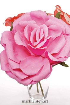 Add a pop of color to your room or office with crepe-paper roses that will never wilt. #marthastewart #crafts #diyideas #easycrafts #tutorials #hobby