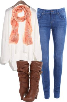 boots , scarf , jeans , fall , winter , outfit , love ~ I actually wore something like this the other day! Yay!
