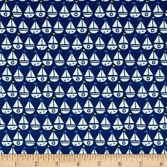 Seaside Sailboats Navy from @fabricdotcom  Designed by Jill McDonald for Windham Fabrics, this cotton print features nautical sails boats with flags that is perfect for apparel, quilting, and home decor accents. Colors include periwinkle, navy, jade, yellow, and white.
