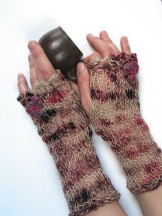 Linen with wool Knit fingerless gloves natural by woollinen
